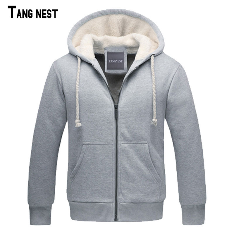 TANGNEST Men Thick Hoodies Autumn&Winter Style Men's Casual Thick Warm Solid Sweatshirts Male Hooded Sweatshirt Basic MWW987