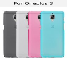 New Candy color soft silicone TPU gel back cover case for Oneplus 3 Three One plus 3 Oneplus3 with screen film and pen(China)
