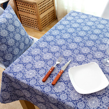Chinese Style Tablecloth Cotton Linen Blue And White Porcerlain Printed Manteles Para Mesa Tea CoffeeTable tafelkleed