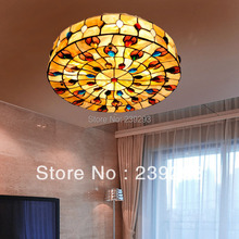 MAMEI Peacock Design Free Shipping 110-240V Indoor Tiffany Flush Mount Lighting fixture With 18 Inch Shell Lamp Shade For Home