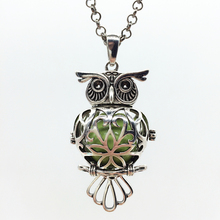 1PC Vintage Silver Owl Shape Hollow Brass Locket Fragrance Essential Oil Aromatherapy Diffuser Pendant Necklace Fashion Jewelry