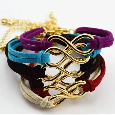 SL103 Hot Boho Punk Bijoux Fashion Vintage Infinity 8 Leather Bracelets For Women Gift Wholesale Bangles Men Jewelry pulseras(China (Mainland))