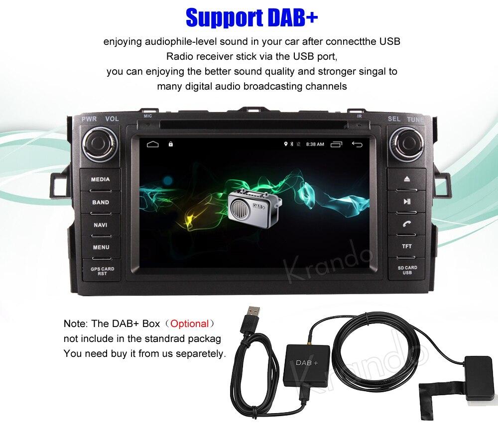 Krando toyota auris corolla hatchback Android car radio gps navigation multimedia system (12)