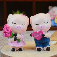 ft386  Love rose pig lovers creative resin crafts decorative ornaments Home Furnishing Yiwu small commodity wholesale