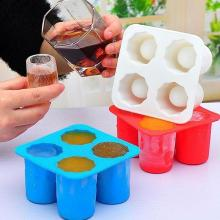 Creative 4 Cup Shaped Silicone Ice Cube Shot Glass Freeze Mold Tray Kitchen Cool Shooters Color Random