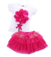 Summer Baby Kids Girls Clothes Sets Mini Skirts Princess Pageant Flower Bow Tulle Baby Party Tutu New Pink