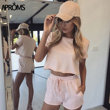 Aproms 2017 Women Set Two Piece Set Fashion Summer Top and Shorts Crop Top suit Drawstring Short Pants Women's tracksuits 80343