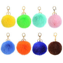 Hot Furry Ball Keychain Bag Key Hanging Tail Accessories Rabbit Fur Key Ring 8959(China)