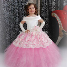 Gorgeous Custom White Satin Pink Puffy Toddler Ball Gown Girls Frock Designs Abiti Da Comunione Vintage Lace Flower Girl Dresses