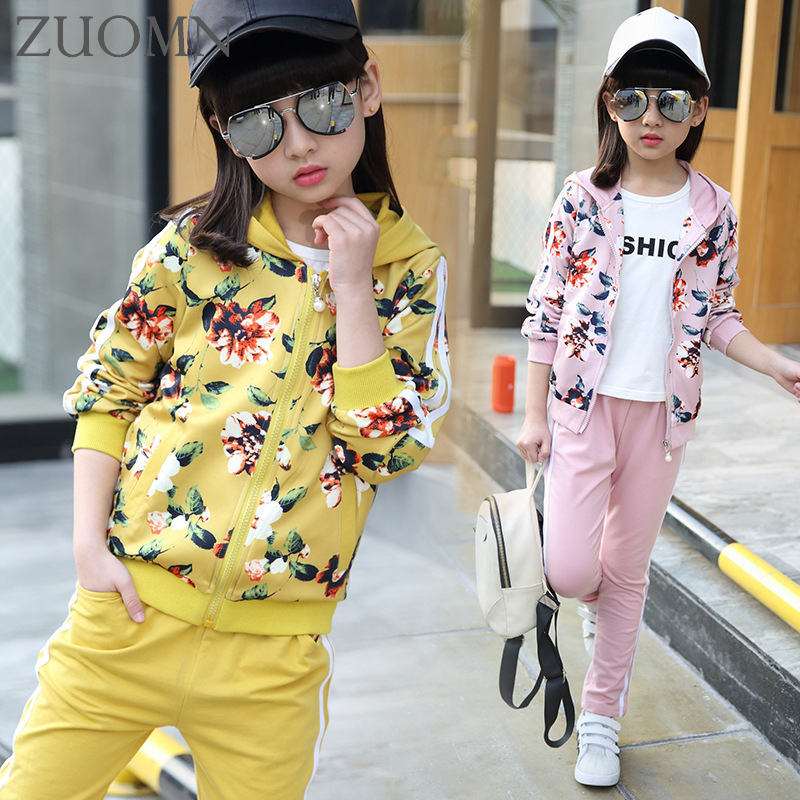 2017 Girls Spring Flowers Suit Girls Clothes Sprot Hoodies Set Children Clothing Suits Hooded jackets+ Pants 2pc Suits YL561<br>