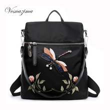 VZ embroidery women backpack mochilas nylon ladie's casual bags floral backpacks black bolsas femininas flower shoulder bag 474Z