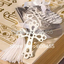 30pcs/lot+Small Order Unique Wedding Favors Silver Hollow Out Cross Bookmark Religion Party Giveaway Gift+FREE SHIPPING(China)