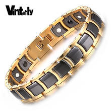 Vinterly Mens Bracelet Health Black Ceramic Bio Magnetic Germanium Bracelets Men Hand Chain Link Gold Color Stainless Jewelry(China)
