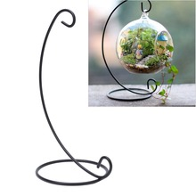 Metal Iron Glass Ball Hanging Flower Plant Stand Holder for Landscaping Garden Yard Decor Candlestick Without Glass Ball