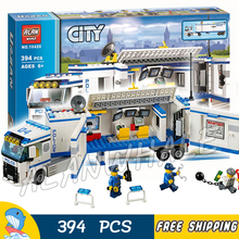 394pcs City Police Mobile Police Unit New 10420 Building Blocks Action Figures Model Boys Girls Kids Toys Compatible With lego
