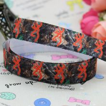 5/8 inch Free shipping Fold Over Elastic FOE camo tree printed ribbon headband  hair band  diy decoration wholesale OEM B132