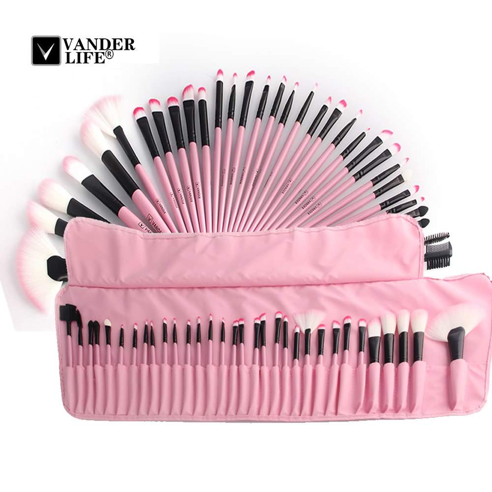 32Pcs Professional Makeup Brush Set Foundation Eye Face Shadows Lipsticks Powder Brushes Make up Cosmetic Tools With Pink Bag (10)