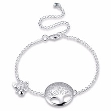 New fashion life tree hollow out Chain Anklet 925 stamp silver plated Ankle Bracelet Foot Jewelry for women Barefoot Beach gifT