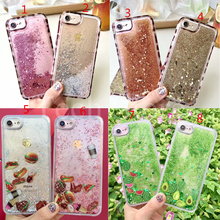 For iPhone 6 6S 7 Plus Leopard Hamburgers Coffee Watermelon Avocado Cactus 2 in 1  Soft TPU Side Glitter Liquid Back Case Cover