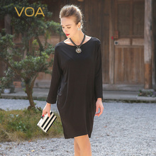 VOA European Style Spring Models Black Waist Hedging New Women's Silk Jersey Dress Round Neck Long-Sleeved Silk Vestido A5356