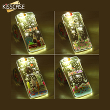 KISSCASE For iPhone 5 5S SE Smart Calling Flash LED Light Printed Case Transparent Shiny Luminous 5S SE Glitter Clear Case Cover