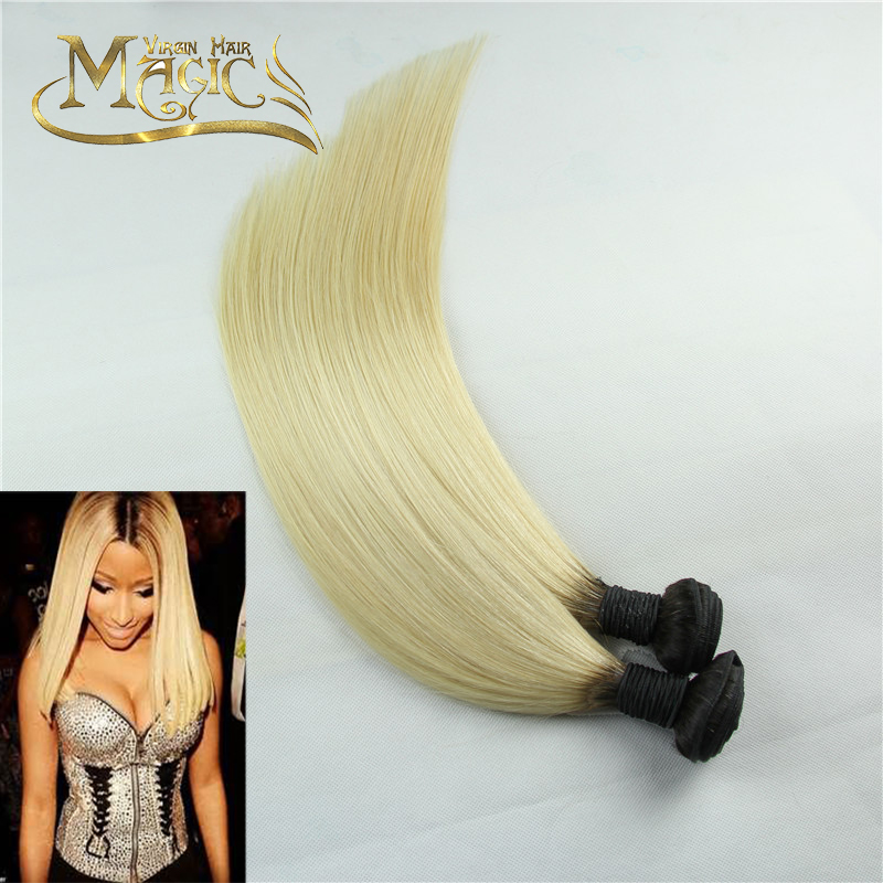 613 Blonde Malaysian Virgin Hair Best Quality Black Root Ombre 1b/613  2pcs Lot Straight Ombre Hair Bundles Malaysian Hair Weave<br><br>Aliexpress