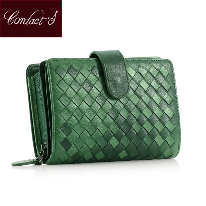 2018 Classic Brand Womens Wallet Genuine Sheep Leather Short Design Money Bag Ladies Woven Purse With Zipper Around Coin Holder<br>