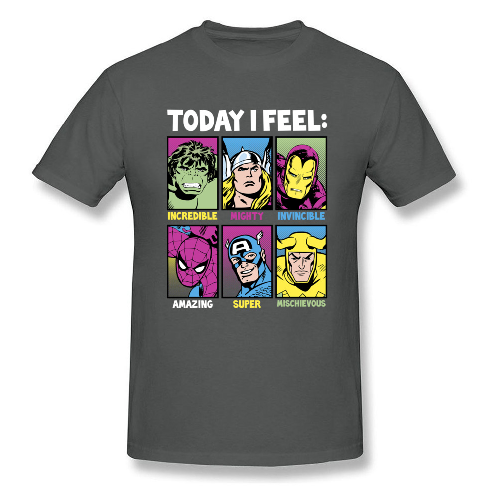 Star Wars Today I Feel Marvel Heroes T Shirts Funky Mens Summer/Autumn Tops Tees Casual Top T-shirts Crewneck 100% Cotton Fabric Today I Feel Marvel Heroes carbon