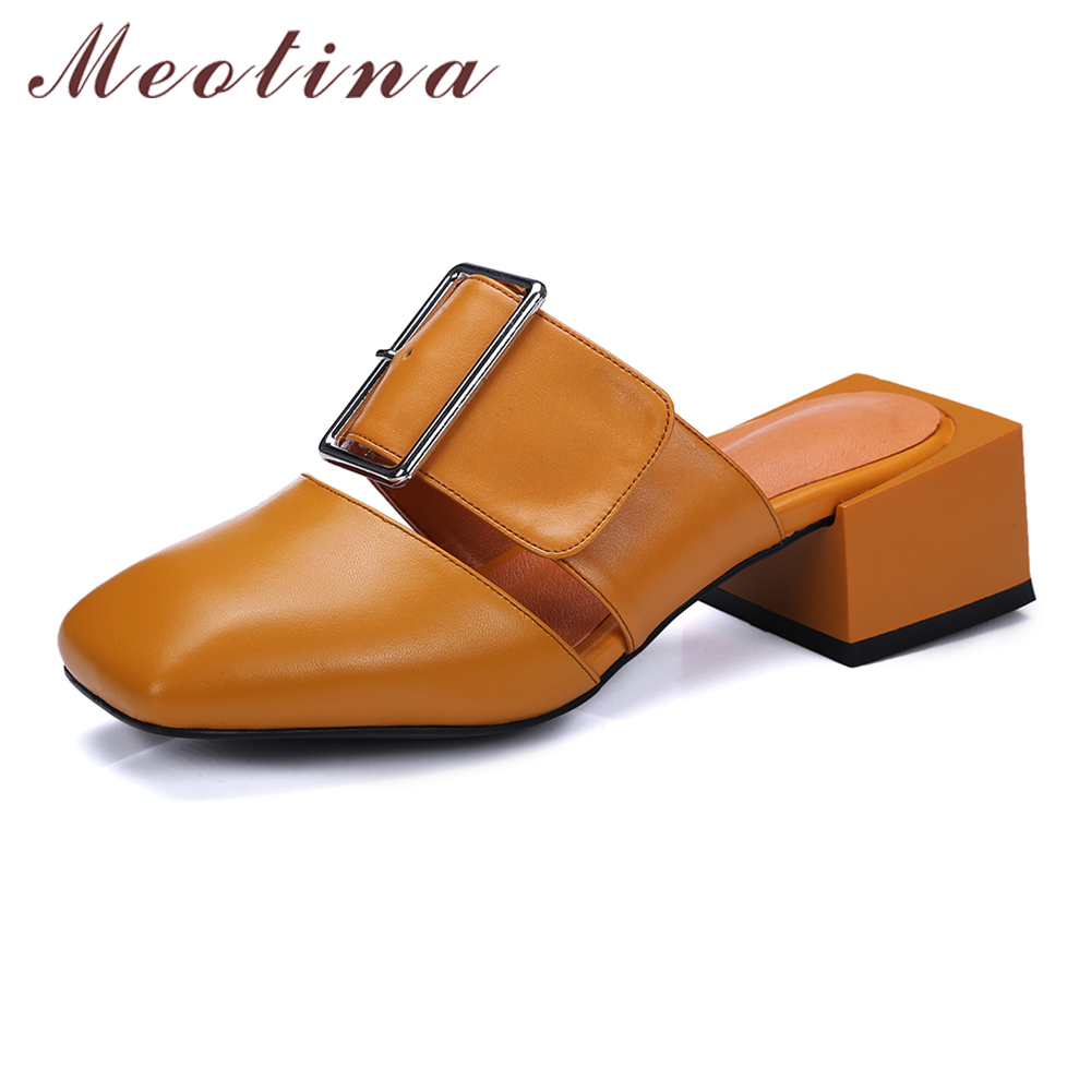 Meotina Design Shoes Genuine Leather Sandals Square Toe Buckle Mules Shoes Mid Chunky Heels Slides Summer Slippers Yellow 34-39<br>