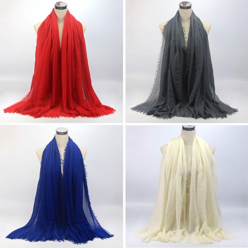 Women Crinkle Cloud Hijab Scarf Shawl Muslim Long Shawl Stole Wrap 6