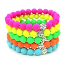 8mm Candy colors Silicone Beads Bracelet for Men Women Trendy DIY Fluorescent Neon Strand Bandage Charm Bracelets Bangles.(China)