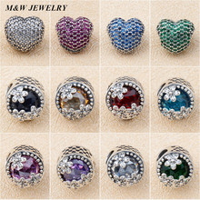 M&W JEWELRY Love Big Pore Beads For Women Sterling Silver Magnolia Cat Eye Snake Bones Jewelry
