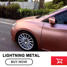Hot Selling 1.52*20m PVC Car Body Wrap Matt Lightning Metal rose gold Vinyl Wrap(China)