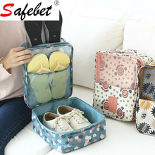 Printed Waterproof Nylon Holiday Travel Shoes organizador Box Storage Bag Packing Organizers Drawer Closet Dividers Container