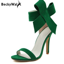 Women High Heel Sandals Candy Color Big Bowknot Sexy Summer Shoes Woman Red Black Green Orange Party Shoes zapatos mujer WSH1004(China)