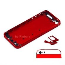 New Spare Parts Repair For iPhone 5 Red&White Back Cover Preassembled Midframe Bezel Back Housing Replacement  Free Shipping
