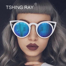 TSHING RAY 2017 New Women Round Lenses Cat Eye Sunglasses Fashion Brand Designer Mirror Sun Glasses Ladies Ceteye Optics Eyewear(China)