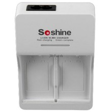 Hot Sale Soshine V1 9V Li-ion Ni-MH Battery Charger with 2 Slot Input AC 90-260V 50/60Hz EU/US Plug