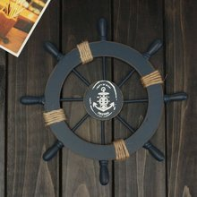 Mediterranean Nautical Wooden Boat Ship Wheel Helm Home Wall Party Decoration Hanging Wall Decoration Bar(Dark Blue)(China)