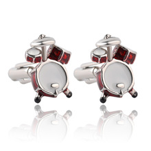 1 pair New Fashion Men Cuff Links Red White Musical Band Drum Cufflink French Shirt Party Wedding Silver Cufflinks