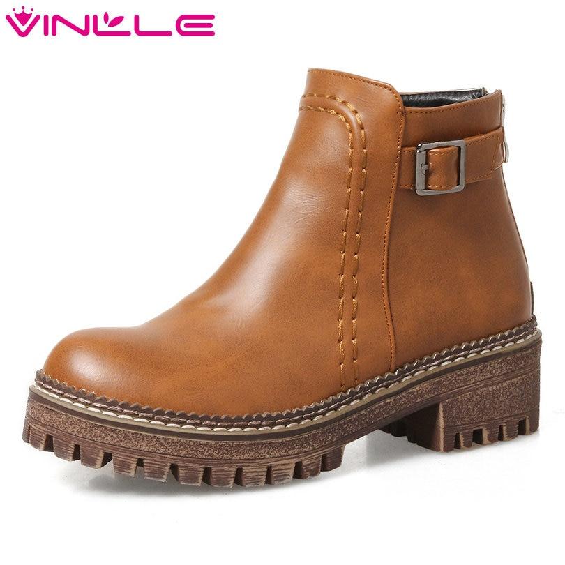 VINLLE 2018 Women Shoes Ankle Boots Square Low Heel Round Toe Elegant Black Zipper Ladies Motorcycle Shoes Size 34-43<br>