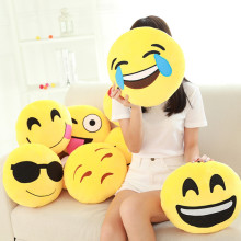 Hot sale Styles Soft Emoji Smiley Emoticon Round Cushion Pillow Sofa Stuffed Plush Toy Doll Christmas whatsapp emoji Cushion(China)