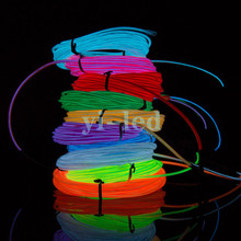 3M Flexible Neon light EL Light wire Rope Tube Red Green Yellow Purple Orange Blue Lemon Pink White with controller(China)