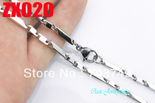 Wholesale -2+1 Square column 3mm casting stainless steel necklace fashion jewelry Men's male chains 10pcs ZX020