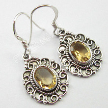 Solid Silver Fancy Oval YELLOW Citrines Gemset HANDWORK Earrings 1 1/4 inches