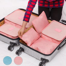 Good Quality  Travel Luggage Organizer Bag Storage Bags Cute Dots Pattern Waterproof Pouch For Clothes Shoes  6pc/Set