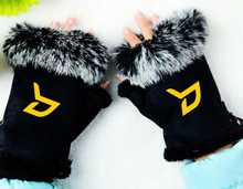 Fashion kpop block b logo mittens adjustable black pink cony hair winter gloves unisex guantes high quality
