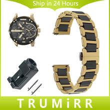 Quick Release Ceramic & Stainless Steel Watchband for Diesel Armani Watch Band Butterfly Buckle Wrist Strap 12 14 16 18 20 22mm