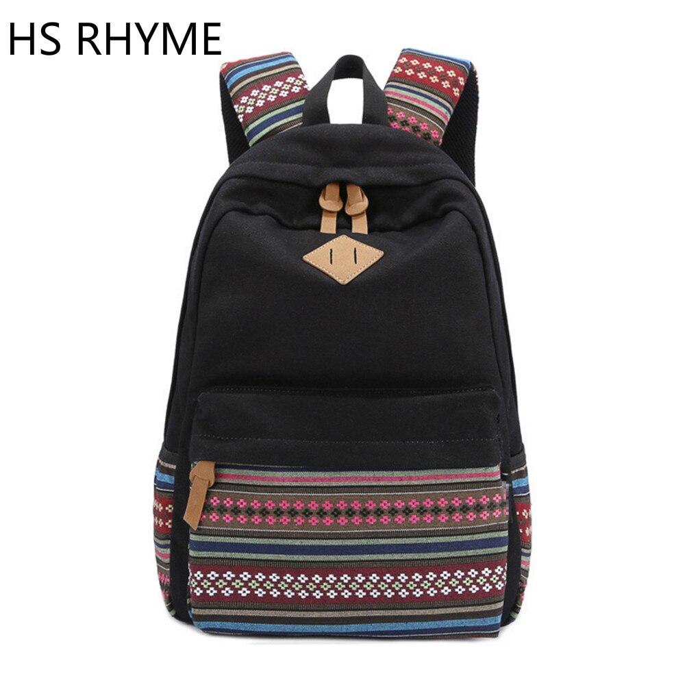HS RHYME Korean Canvas Printing Backpack Women School Bags Cute Bookbags Vintage Laptop Backpacks Female Male<br>
