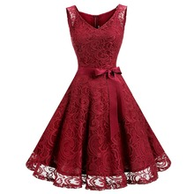 Buy Women's Vintage V Neck Sleeveless Belt Tunic Floral Lace Party Dress Evening Line Dresses for $18.89 in AliExpress store